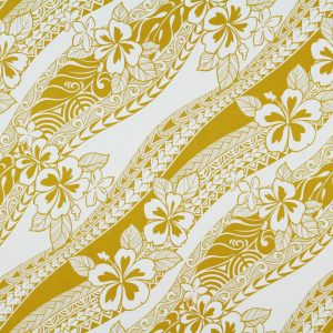 "100% Cotton. HC10726 features slanted rows of off white hibiscus flowers, plumeria flowers and tapa patterns on a spicy mustard background. (44/45"" in width)"