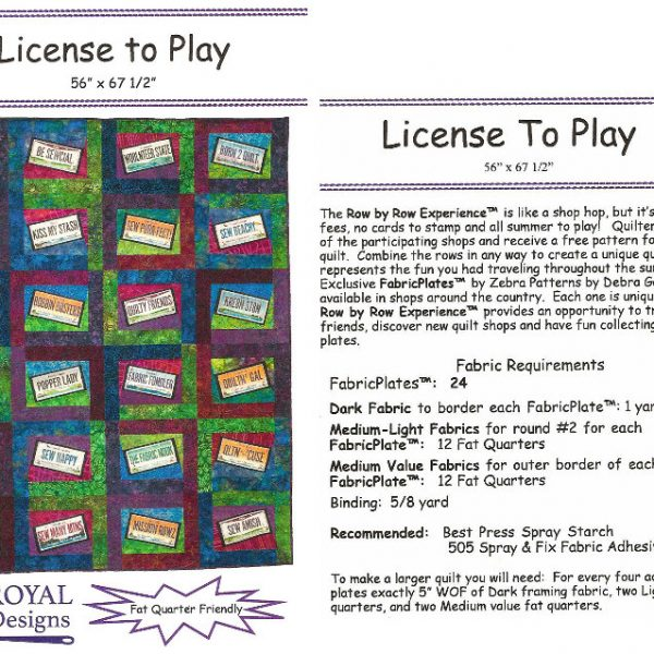 License To Play - Quilting